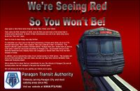 Half-page ad celebrating the Red Line